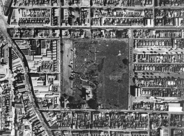 Aerial view of Camperdown Cemetery