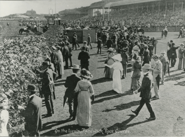 Lawn at Randwich Racecource with women
